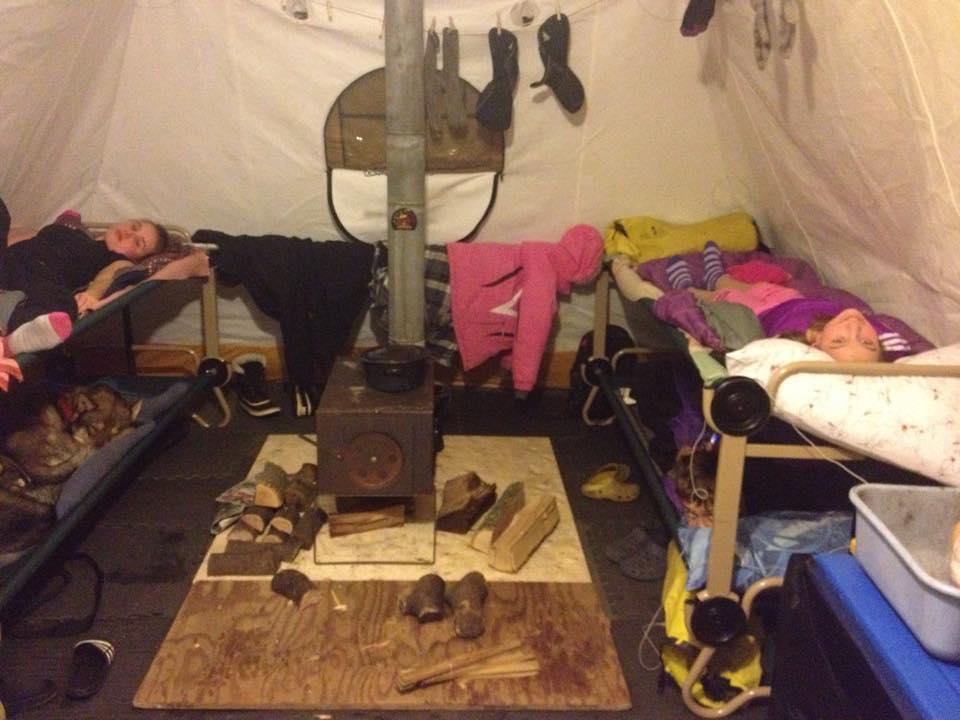 marians inside tent